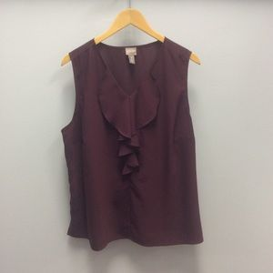 Chico's purple plum top with ruffle on neck 3/XL